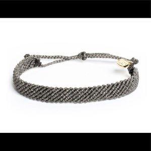 PURA VIDA Flat Braided Dark Gray Bracelet NWT